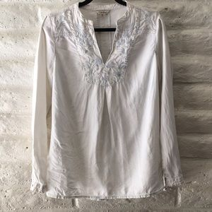 Lucky brand white washed denim embroidered tunic